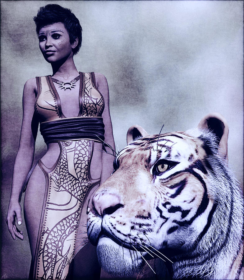 Digital Art Painting - Tigress by Maynard Ellis