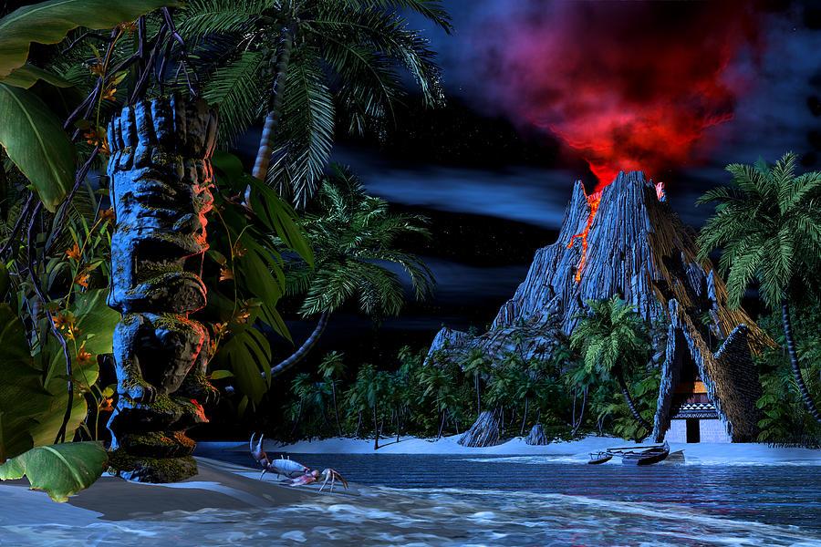 Tiki Digital Art - Tiki Jungle by Alex George