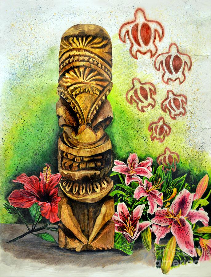 Tiki Still Life 2 Drawing
