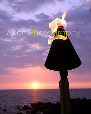 Sunset Photograph - Tiki Torch Sunset by Anthony Valadon
