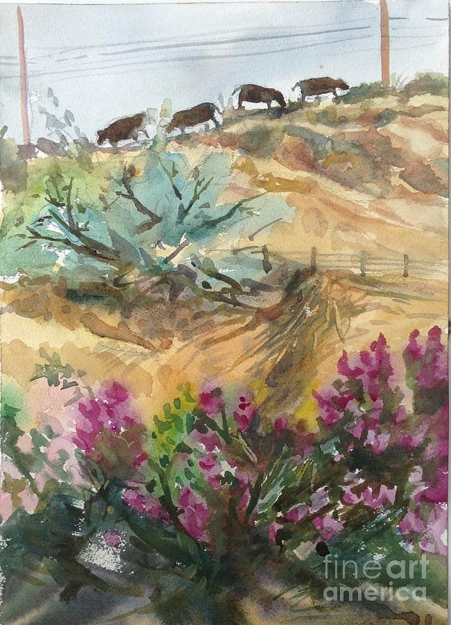 Watercolor Landscape Painting - Til The Cows Come Home by Diane Renchler