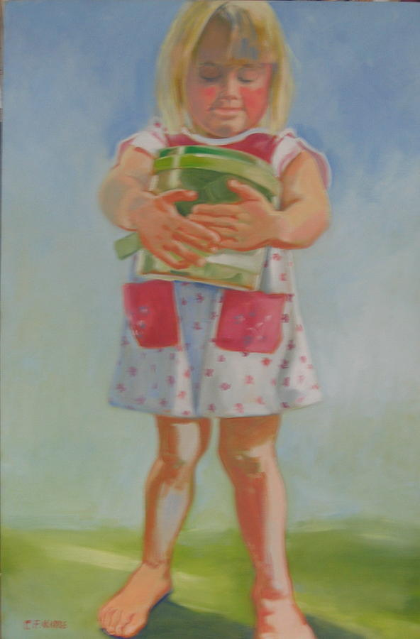 Child Painting - Til With Her Bug Box by Carolyn Favor Kibbe
