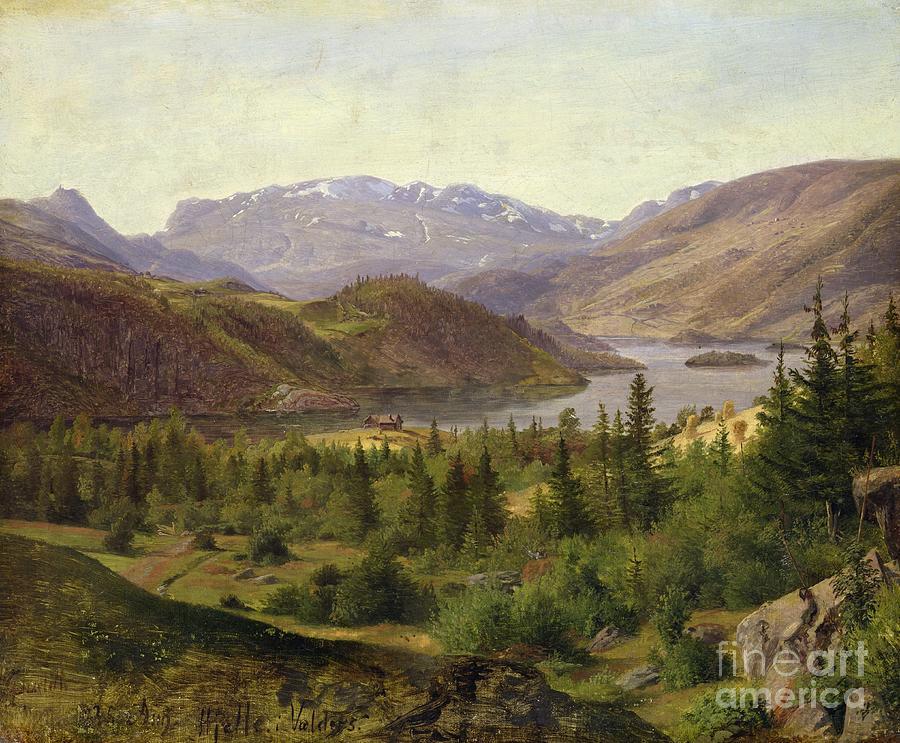 Tile Painting - Tile Fjord by Louis Gurlitt