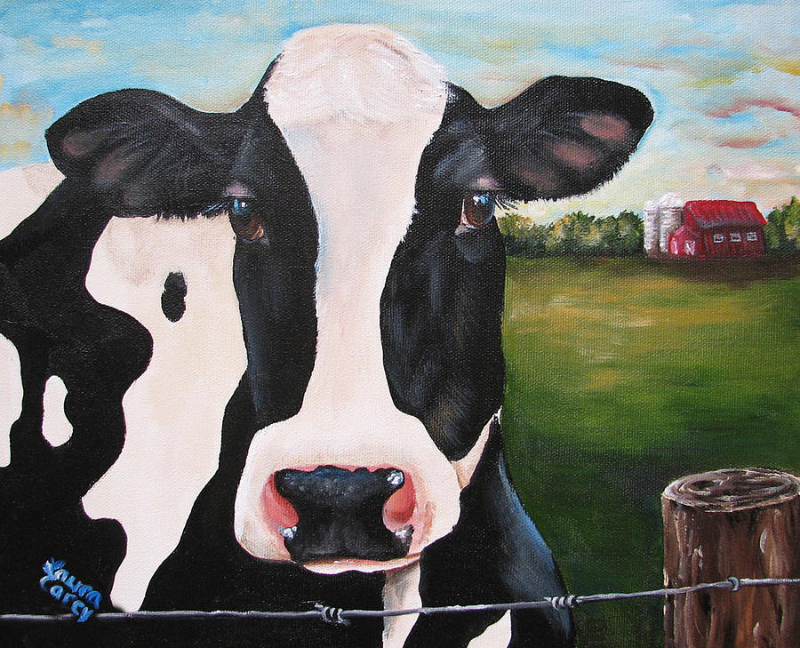 Holstein Painting - Till The Cows Come Home by Laura Carey
