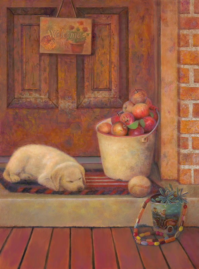 Lab Puppy Painting - Till the Kids Come Home by Nancy Lee Moran