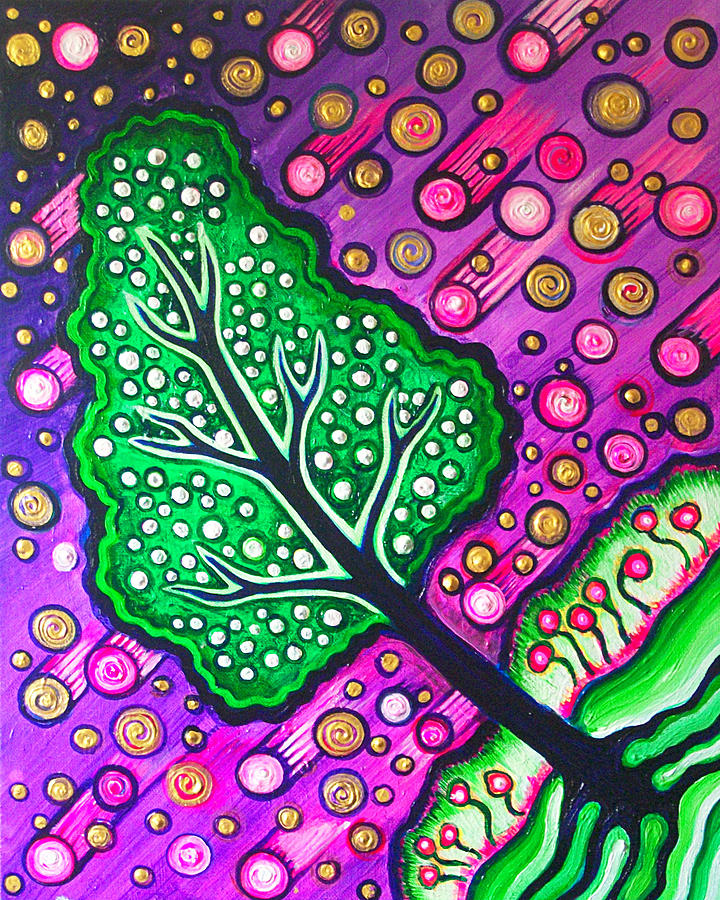 Tree Painting - Tilted Into Cosmos by Brenda Higginson