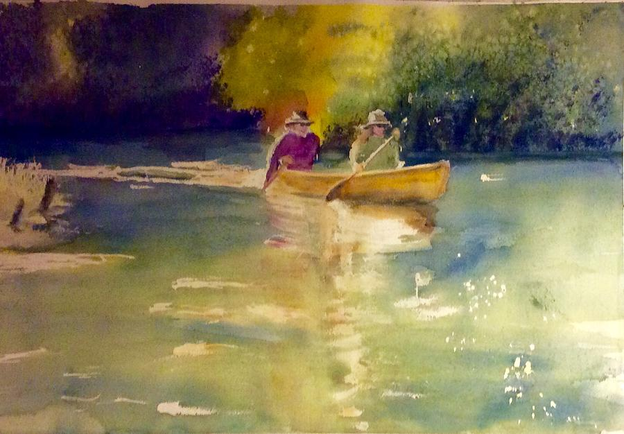 Canoeing Painting - Tim and Sandy on the Platte River, Michigan, do a complete sweep by Diane Binder