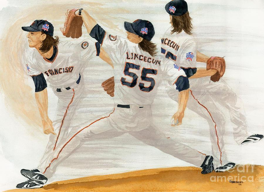 Tim Lincecum Painting - Tim Lincecum Study 2 World Series by George  Brooks