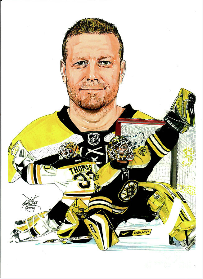 Bruins Mixed Media - Tim Thomas by Neal Portnoy
