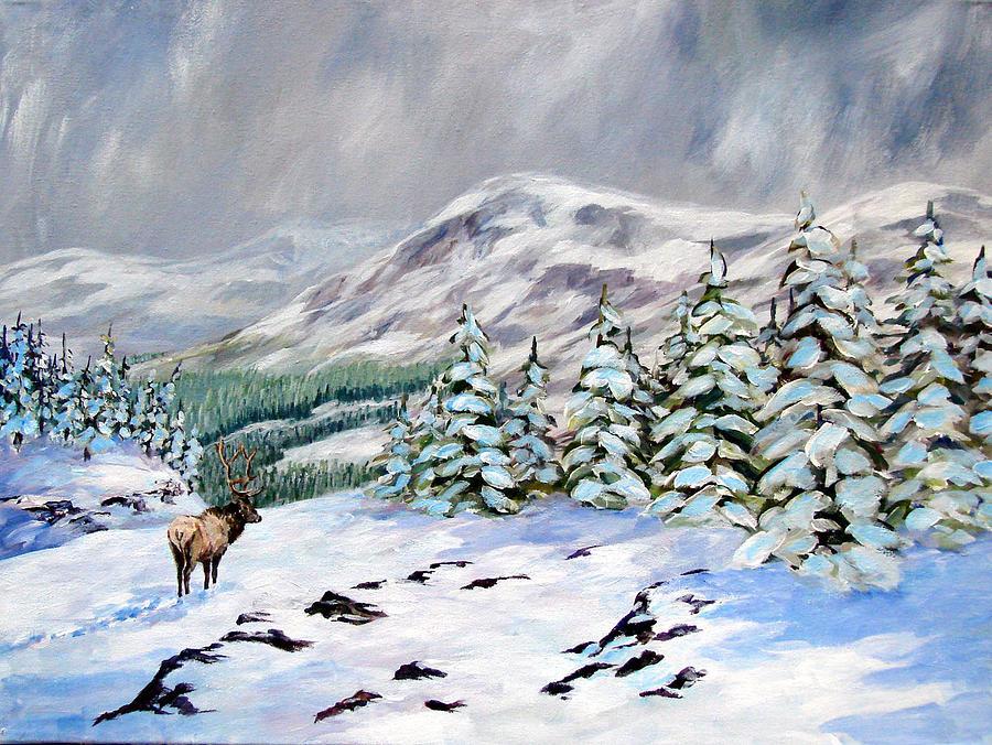 Elk Painting - Timberline by David  Maynard