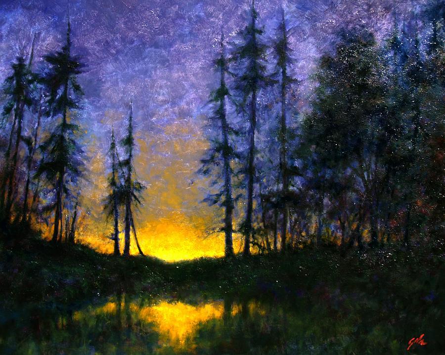 Night Scene Painting - Timberline by Jim Gola