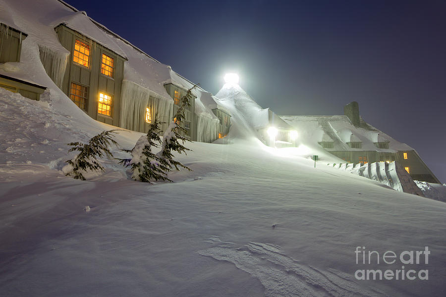 Timberline Lodge Photograph - Timberline Lodge Mt Hood Snow Drifts At Night by Dustin K Ryan