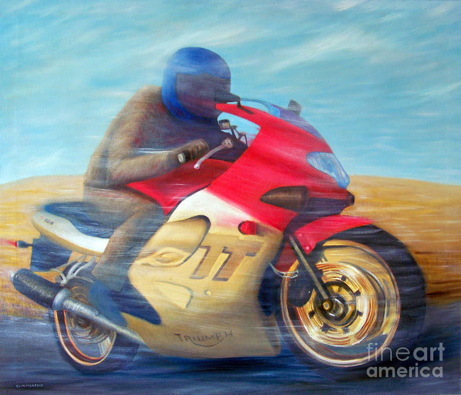 Motorcycle Painting - Time And Space Equation - Triumph 600tt by Brian  Commerford