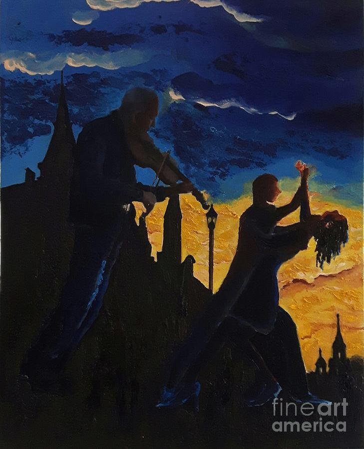 Time And The Bells Have Buried The Day, But They  Dance To The Violin Music Up  To The End Of Time. Painting