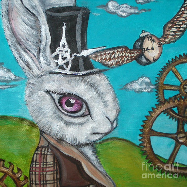 Alice In Wonderland Painting - Time Flies For The White Rabbit by Jaz Higgins