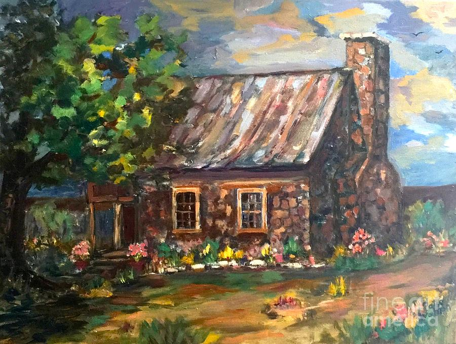 Log Cabin Painting - Time Gone By by Patsy Walton