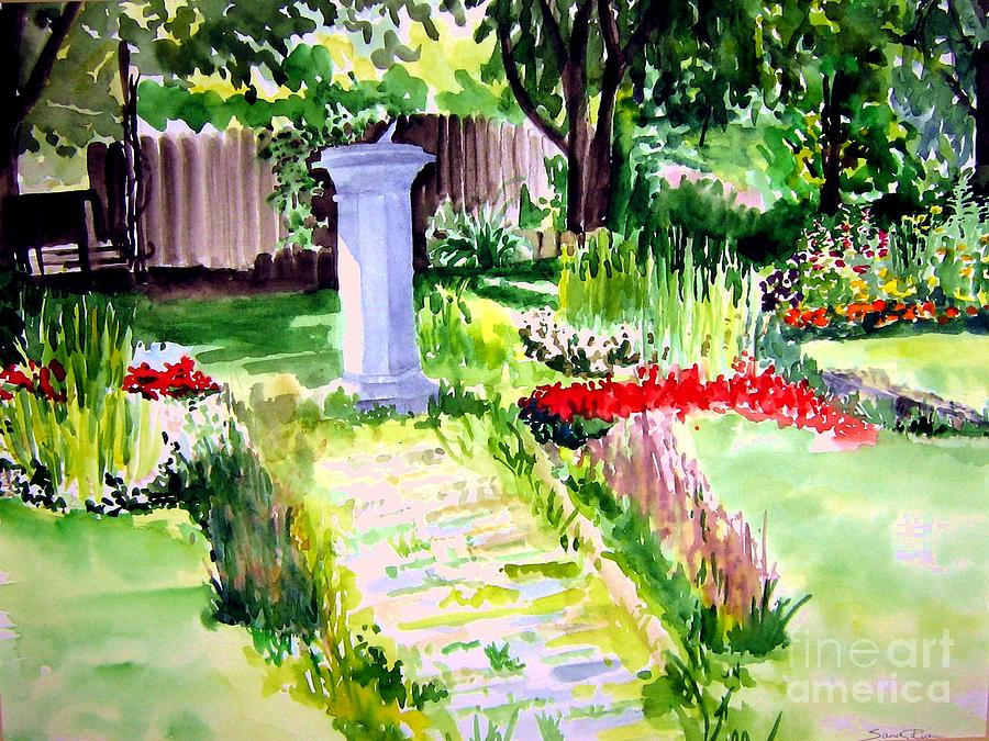 Park Painting - Time In A Garden by Sandy Ryan