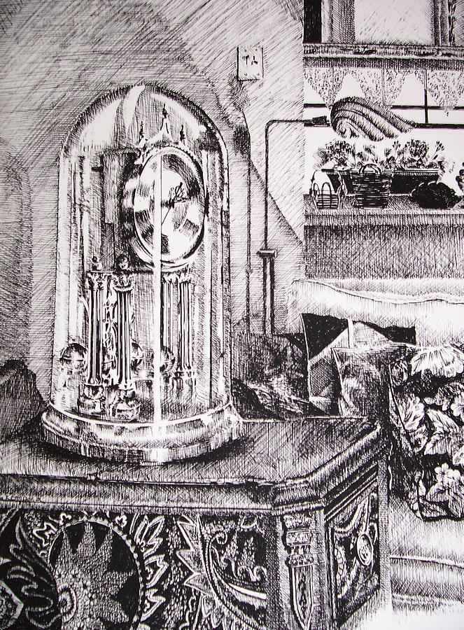 Black And White Drawing - Time by Kathleen Romana