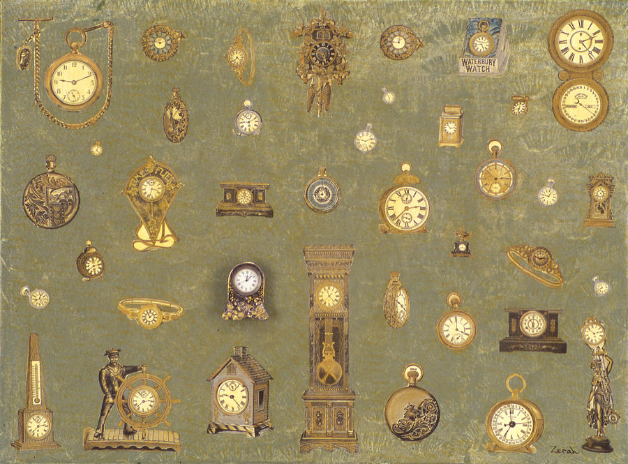 Real Clock Painting - Time Keeps On Ticking by Lorin Zerah