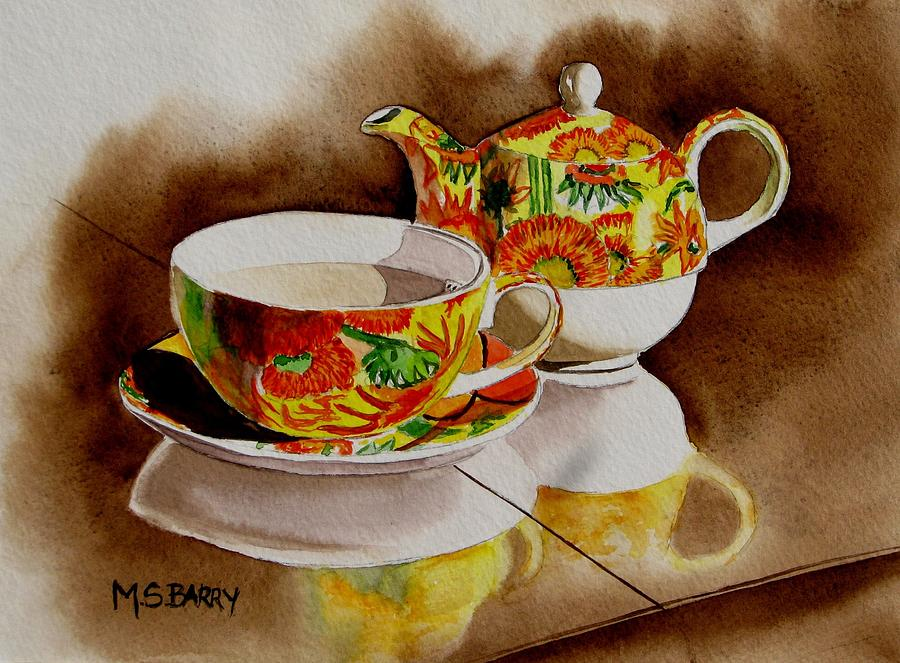 Tea Time Painting - Time Out by Maria Barry
