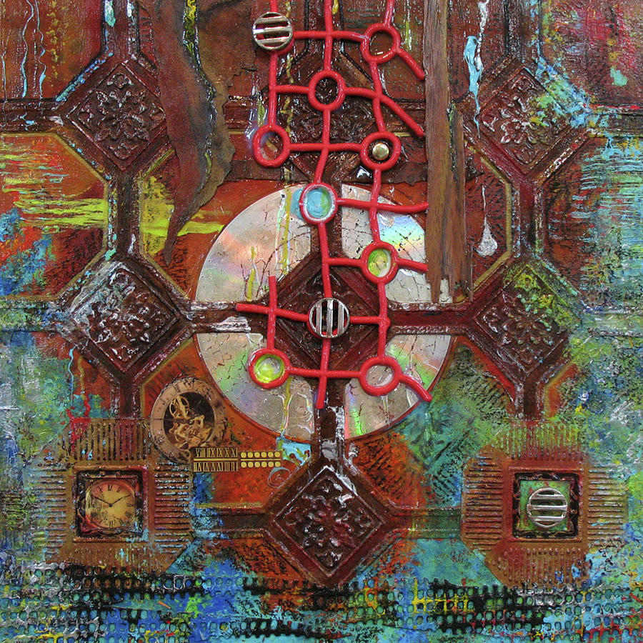 Mixed Media Painting - Time Passage II by Elaine Booth-Kallweit