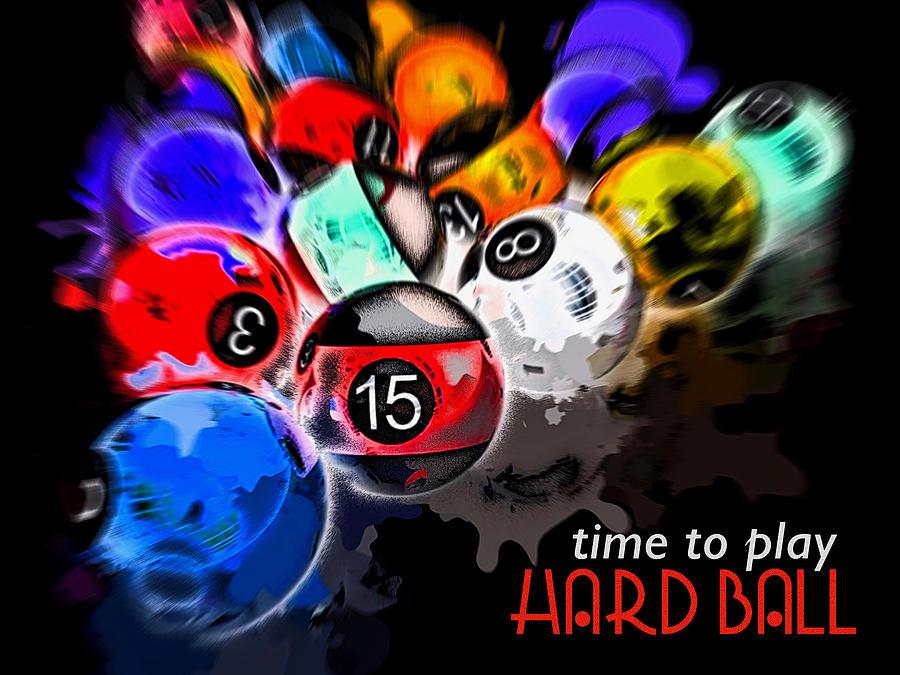 Time To Play Hard Ball Black Digital Art