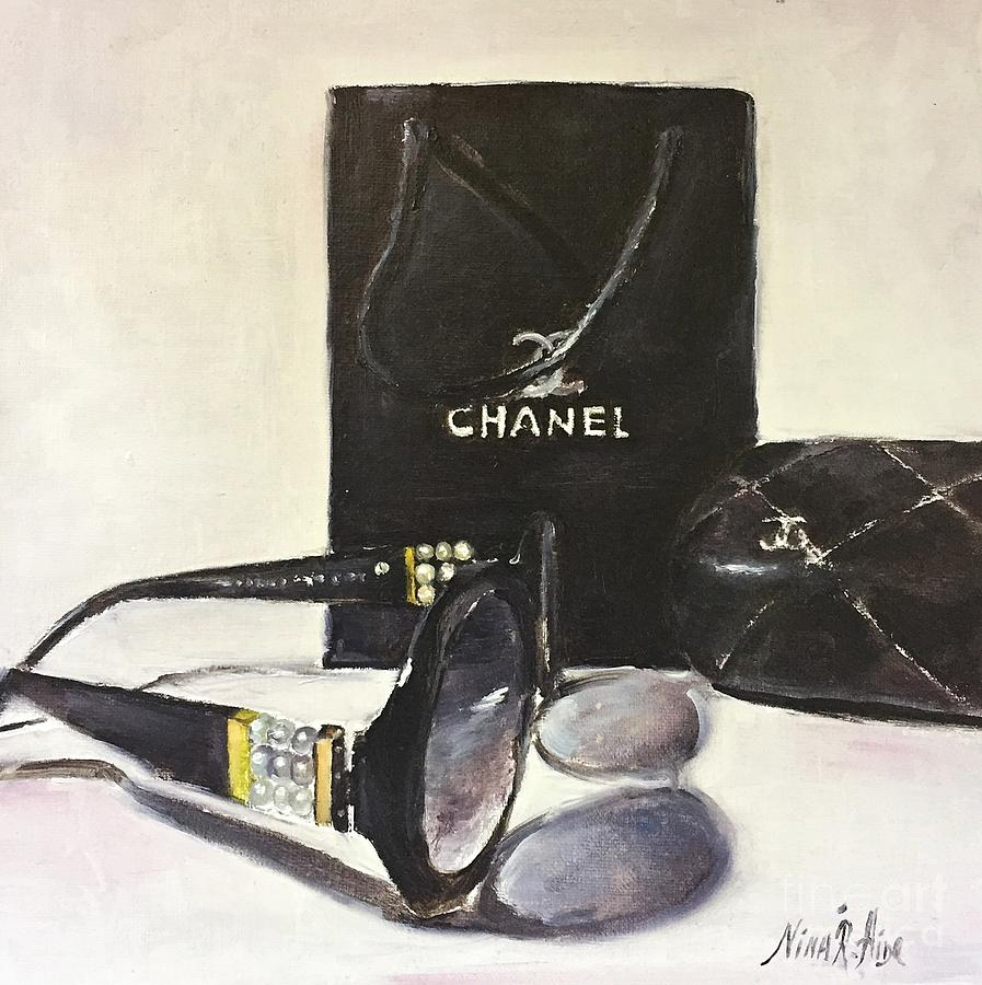 Still Life Painting - Timeless Accessories. Chanel Pearl Glasses Gift Box by Nina R Aide