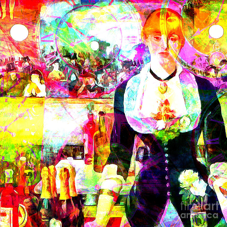 Timeless Art A Bar At The Den Folies Bergere 20160228 square by Wingsdomain Art and Photography