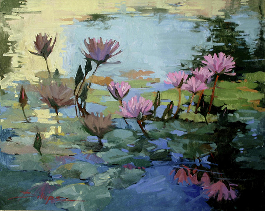 Floral Painting - Times Between - Water Lilies by Betty Jean Billups