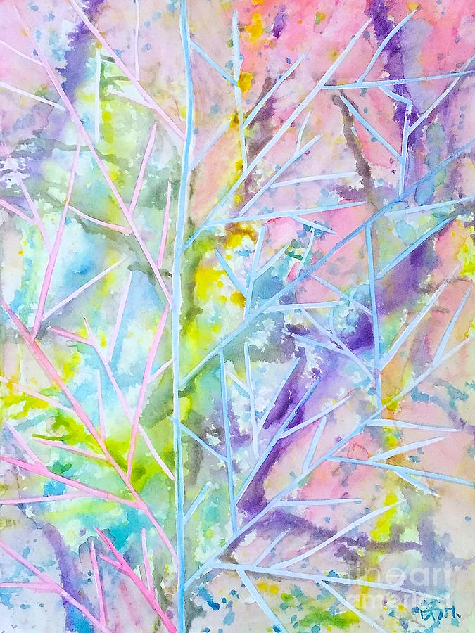 Nature Painting - Times In A Leaf by Wonju Hulse
