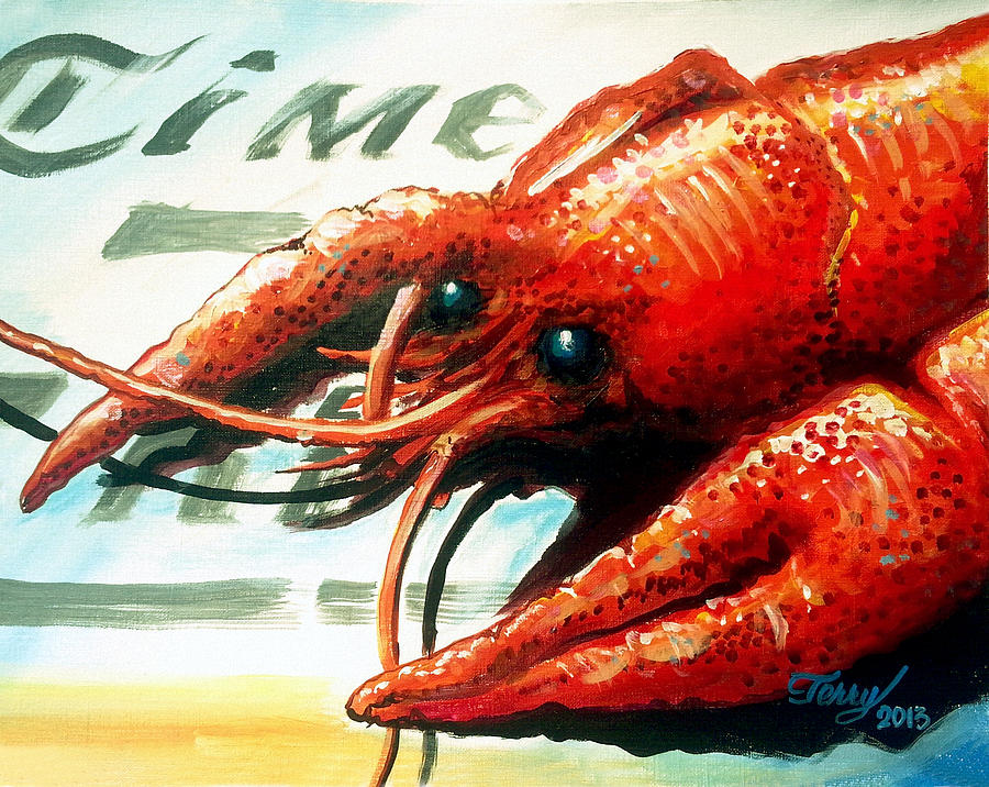 Crawfish Painting - Times Picayune Crawfish by Terry J Marks Sr