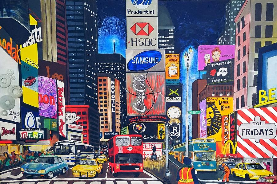 Nyc Mixed Media - Times Square by Autumn Leaves Art