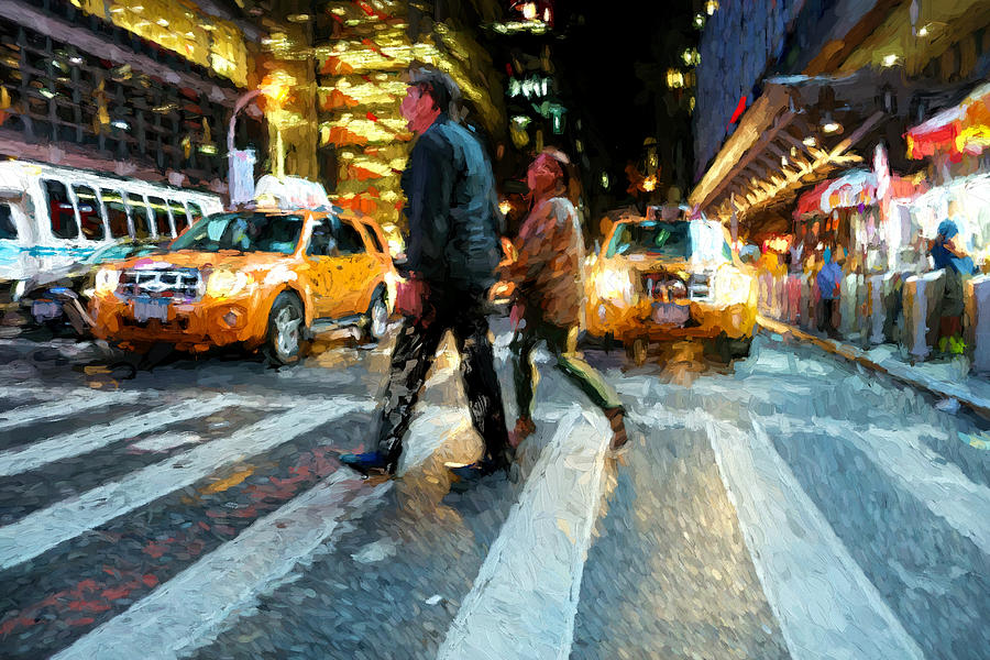 People Digital Art - Times Square Crossing by Matthew Ashton