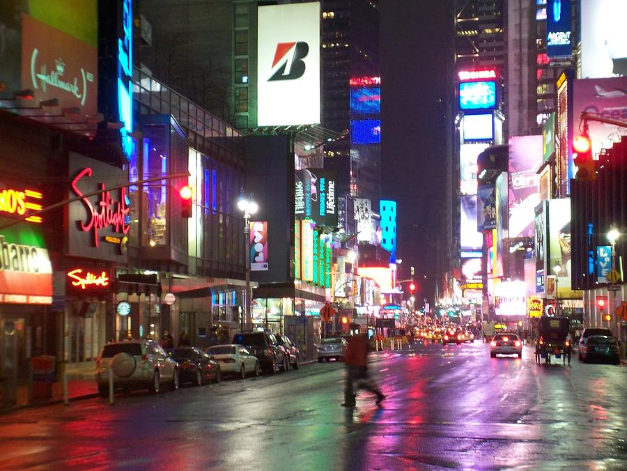 Times Square Photograph - Times Square In The Rain 2 by Anita Burgermeister