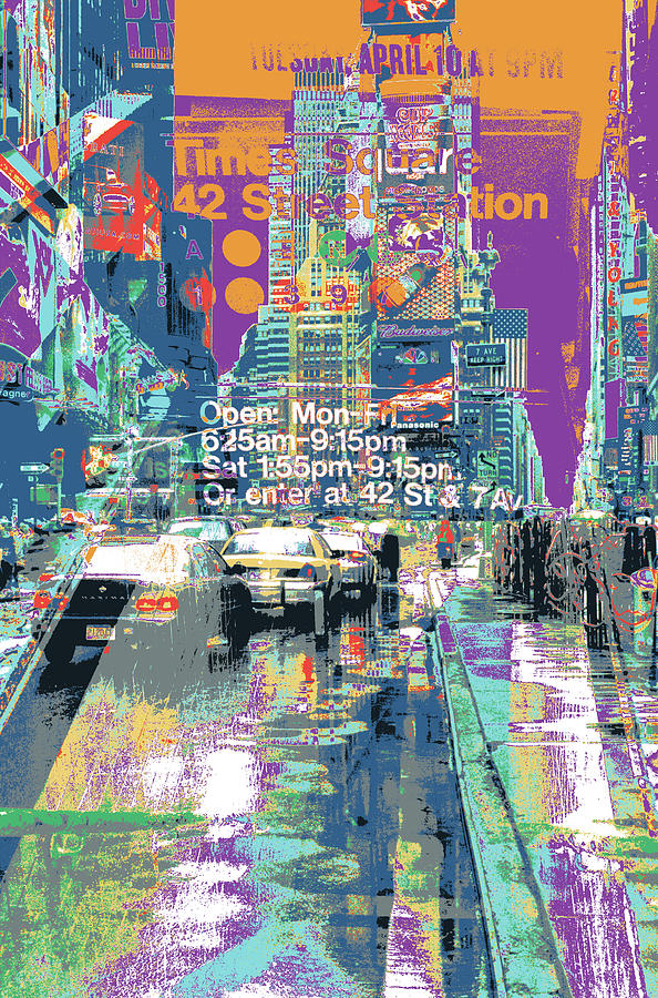 New York Mixed Media - Times Square Morphine by Shay Culligan