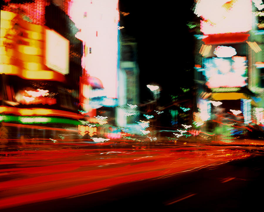 Light Photograph - Times Square Painted by Brad Rickerby