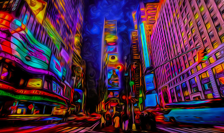 Times Square Psychedelic Art Photograph By Ron Fleishman