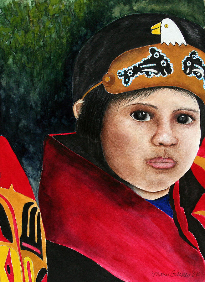 Native Painting - Tinglit Native Girl by Mary Gaines