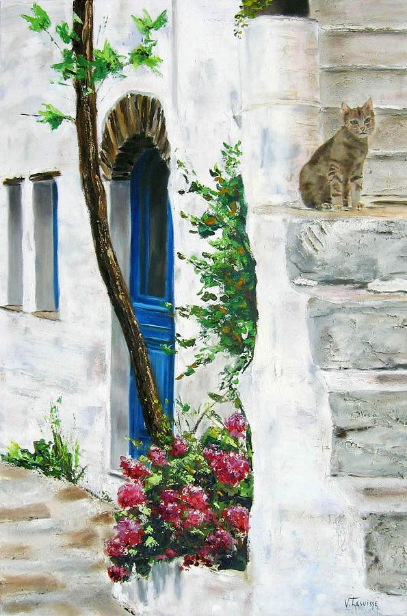 Landscape Painting - Tinos Grece Berdemiaros by Lesuisse Viviane