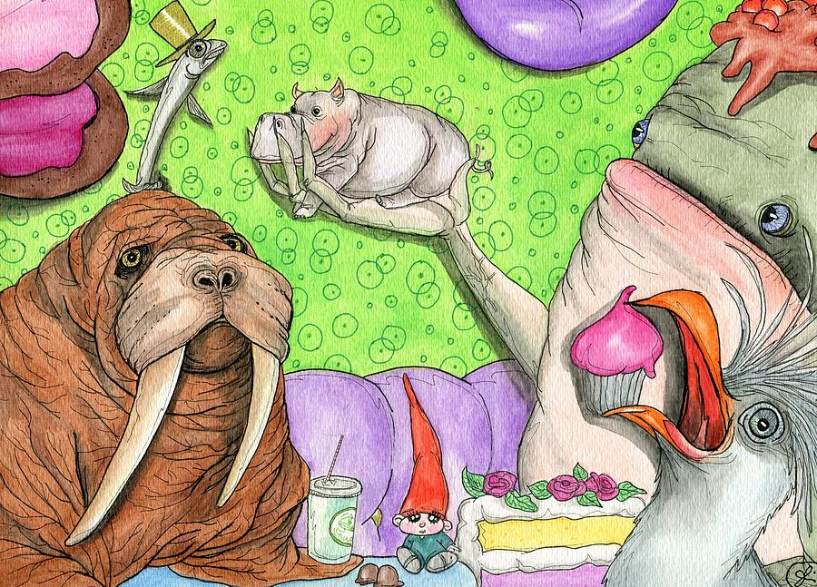 Walrus Painting - Tiny Hippo Throws A Party by Julie McDoniel