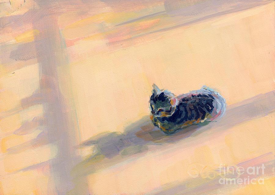 Gray Tabby Painting - Tiny Kitten Big Dreams by Kimberly Santini