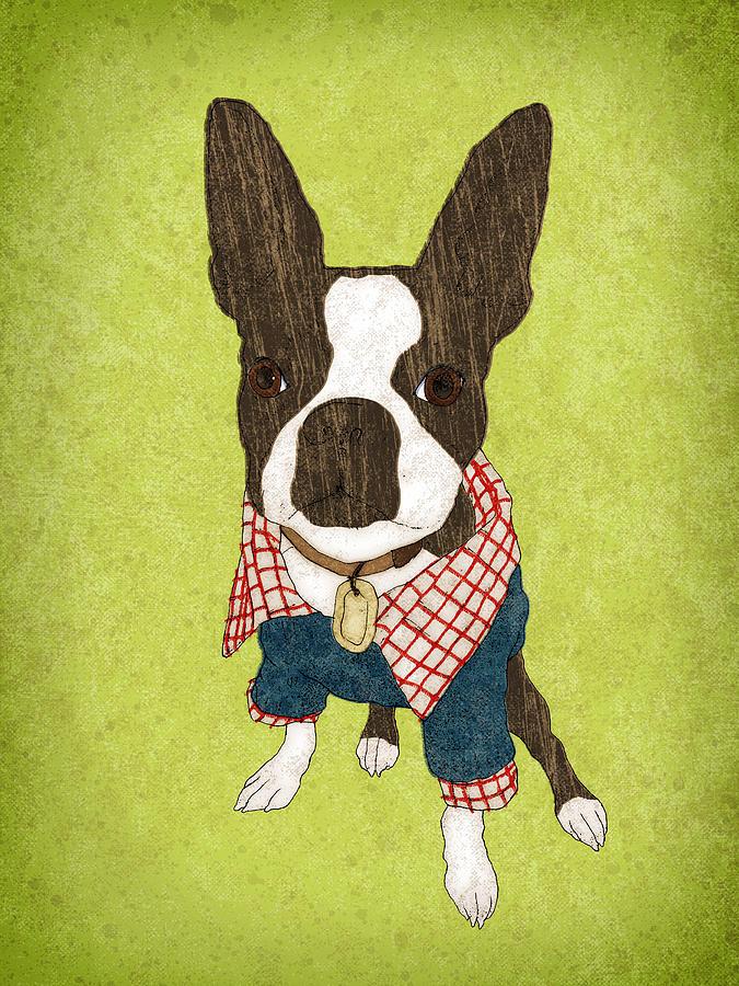 Boston Terrier Painting - Tiny Pimp by Jesse Kuhn