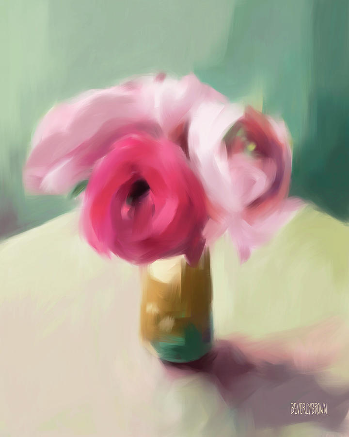 Floral Painting - Tiny Pink Ranunculus Floral Art by Beverly Brown