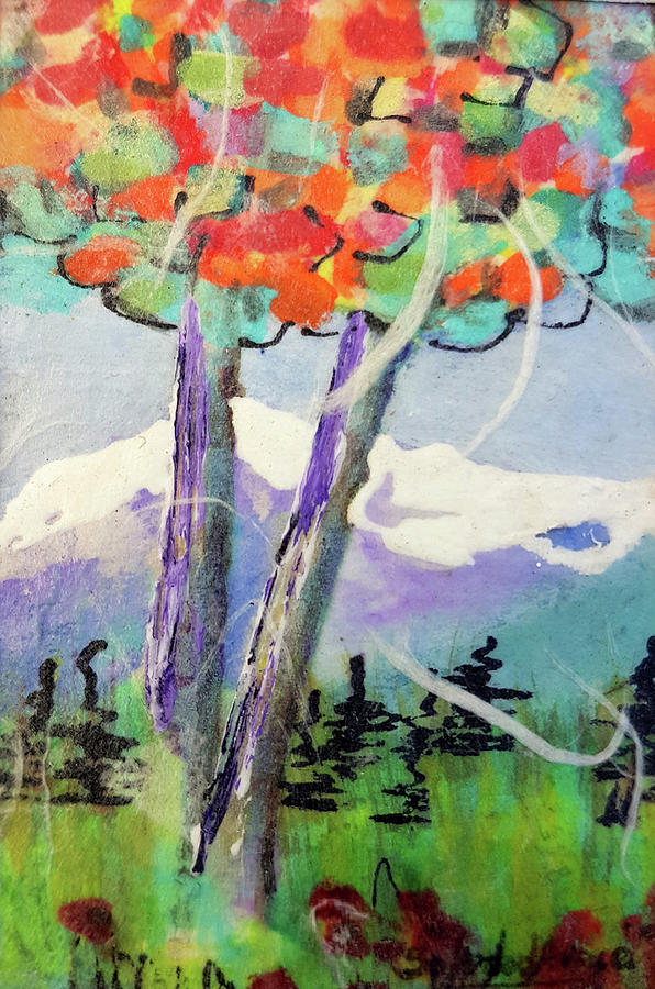 Tiny Rainbow Birches by Sole Avaria