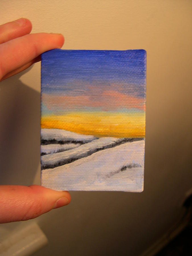 Tiny Painting - Tiny Snowscape 1 by Tara Lewis