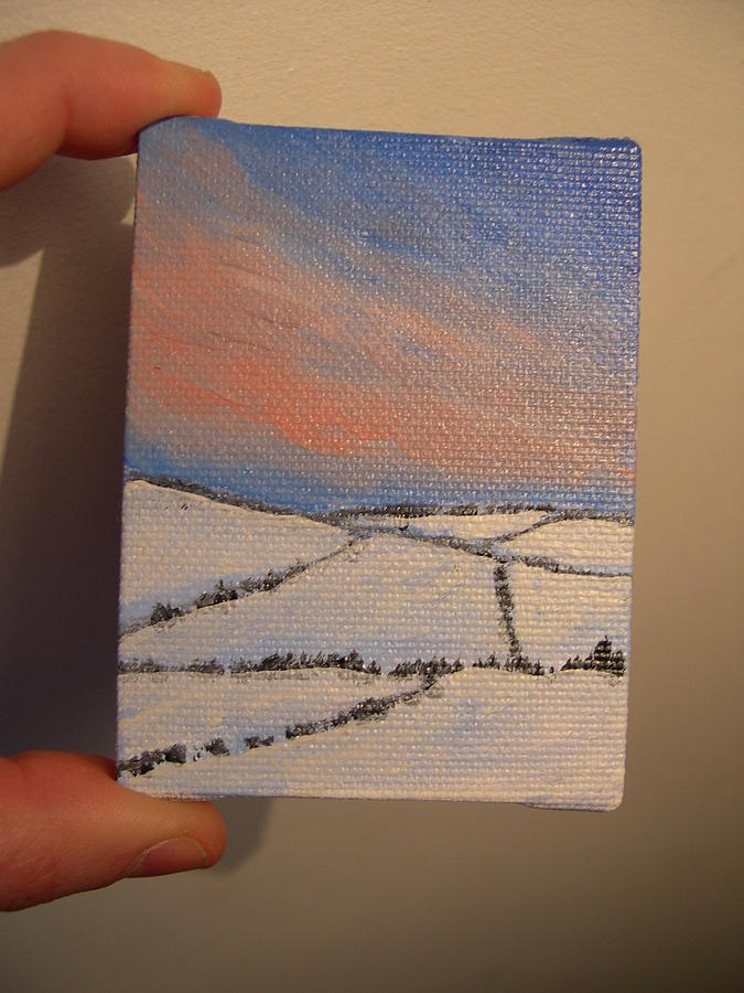 Tiny Painting - Tiny Snowscape 2 by Tara Lewis
