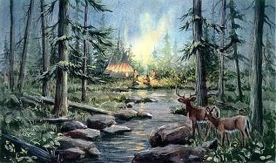 Antlers Digital Art - Tipi Camp And Deer by Sharon Sharpe