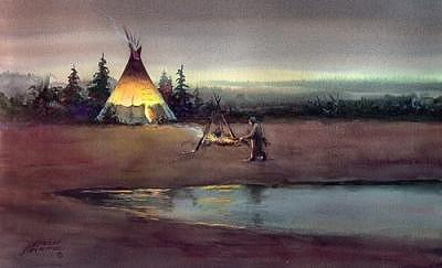 Tipi Digital Art - Tipi Camp Fire by Sharon Sharpe