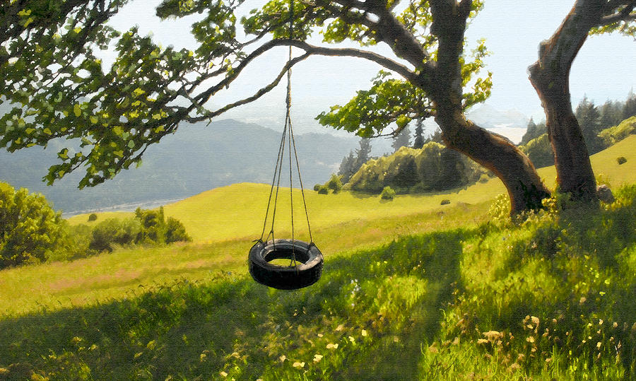 Tire Swing With A View Painting by Kevin Felts