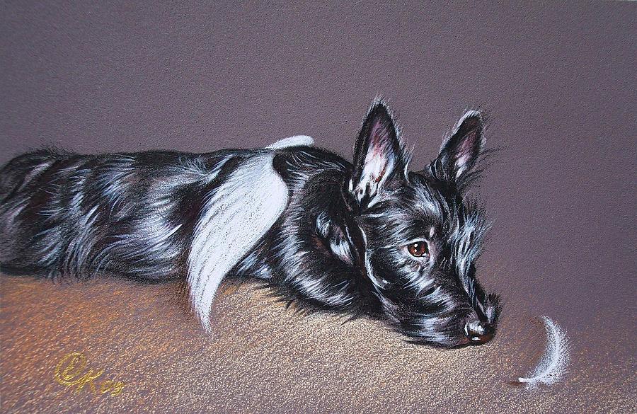 Scottish Terrier Drawing - Tired Angel by Elena Kolotusha